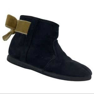 Childrenchic black suede bootie gold bow 24 / 7.5